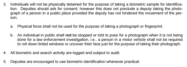 Pinellas County Sheriff's Office, Standard Operating Procedure: Mobile Biometric Usage.